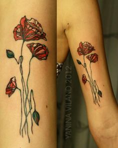 Yanina Viland. Love the nouveau stained glass poppies!