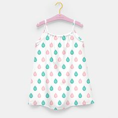 """""""Turquoise blue and coral pink raindrops"""" Girl's Dress by @savousepate on Live Heroes #kidsapparel #kidsclothing #drops #droplets #raindrops #white #pink #blue #green #pattern #drawing #watercolor"""