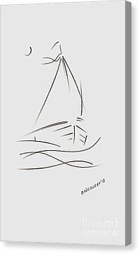 Simple Sailboat Drawing Canvas Print by Mario Perez
