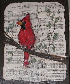 Music, mod podged on canvas, painted red bird
