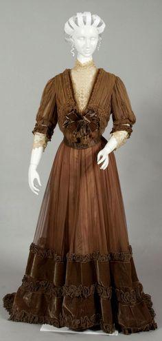 HISTORICAL BROWN & BRONZE PRINTED DRESSES