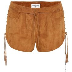 Saint Laurent Suede Shorts (32 200 ZAR) ❤ liked on Polyvore featuring shorts, brown, yves saint laurent, brown suede shorts, suede shorts and brown shorts