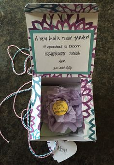 Items similar to A 'new bud in our garden' pregnancy announcement surprise box, pregnancy reveal to grandparents, pregnancy announcement gift for mom on Etsy Pregnancy Announcement Gifts, Surprise Box, Bud, Gifts For Mom, Bloom, Activities, Garden, Handmade Gifts, Crafts