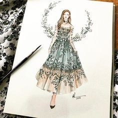165 Likes, 2 Comments - Fashion Art and Sketches (Karri Best. Fashion Art, Fashion Moda, Flower Fashion, Skirt Fashion, Fashion Dresses, Trendy Fashion, Fashion Design Sketchbook, Fashion Design Drawings, Fashion Sketches