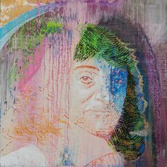 """Descartes, 2016. Acrylic on panel, 16"""" x 16"""".  From the series, """"The Speed of Dreams.""""  After building up a highly textural underpainting, I was left with the conundrum of a bowl-like U shape, a cradle or (inverted) a gravestone. I experimented with engraving-like crosshatching, and quickly built the image of this ghostly philospher emerging like a stamp from a shower of grave-moss and pink blood."""