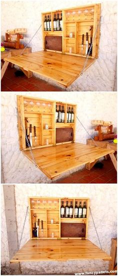 Incredible DIY Projects with Reused Wood Pallets To add something creative in the home folding bar furnishing through the wood pallet use, then choosing this amazing wood pallet folding bar design is the incredible option. Here the simple variation Diy Pallet Furniture, Diy Pallet Projects, Wood Furniture, Home Projects, Woodworking Projects, Pallet Ideas, Pallet Designs, Wood Ideas, Furniture Ideas