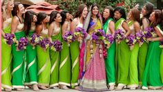 Indian Bridesmaids Saree Ideas – Bride in white embellished saree and bridesmaids in pastel green embellished sarees. Bridesmaids in variant green shaded plain sarees with gold borders Indian Dresses For Women, Indian Bridesmaid Dresses, Bridesmaid Saree, Bridesmaid Outfit, Wedding Bridesmaids, Green Bridesmaids, Indian Outfits, Bridesmaid Color, Bridesmaid Hairstyles