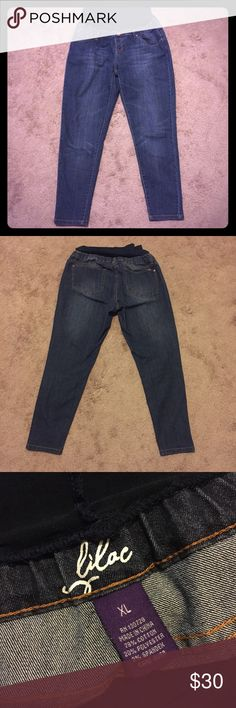 Full panel maternity jeans Worn only a few times so in great condition. This brand sells online New for about $85! These are skinny jeans with the full tummy panel. They are size XL and I think they fit like a 14. Posh did not have a size XL in maternity so I posted as a 14 😊 Lilac Clothing Jeans Skinny