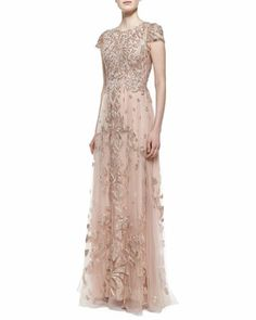 Appreciate this:   Cap Sleeve Embroidered Tulle Gown, Cherry Blossom by Monique Lhuillier at Neiman Marcus.