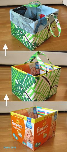 Toy box to carry out of diaper box - toy bin to carry away from diaper . Spielzeugkiste zum Wegtragen aus Windelkarton - toy bin to carry away from diaper box (box exchangeable, cloth washable), Diy Projects For Kids, Diy For Kids, Diy Crochet Toys, Toy Bins, Diy Toys, Sewing For Kids, Diy And Crafts, Cool Stuff, Diy Upcycling