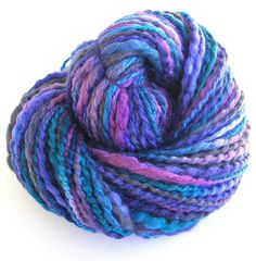 Handspun Yarn Hand Dyed Yarn BFL Wool Silk Bulky by FiberFusion