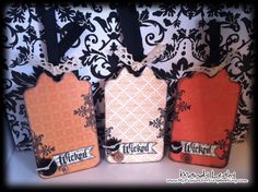 Wicked Halloween Tags - How fun would these be to make as Halloween nears! Beautiful. #scrapbooking #tags