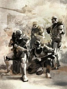 Republic Commandos (Clone Wars Period), AT-TE in the background.