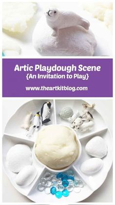 Arctic Themed Playdough Invitation to Play - Emily Britten - Playdough Activities, Preschool Activities, Winter Activities, Play Doh Kits, Artic Animals, Sensory Bins, Sensory Play, Sensory Rooms, Winter Fun
