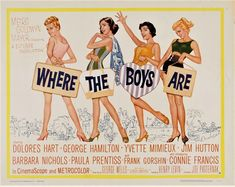 Agreeable comedy that was the first mainstream movie to explore sex before marriage (1960 was a long LONG time ago) Paula Prentiss and Jim Hutton were cast in two more movies after both debuting here and Connie Francis is fine in her film debut as well. Remember the huge crowds on the beaches and bars and restaurants were real we used to get close to each other in public. No really we did. Old Movies, Vintage Movies, Great Movies, Vintage Posters, Spring Break Movie, Dolores Hart, Yvette Mimieux, George Hamilton, Connie Francis