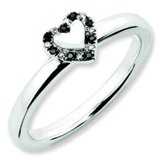 Black White Diamond Stackable White Gold over Silver Heart Ring Available Exclusively at Gemologica.com