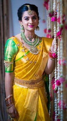 17 Super Ideas How To Wear Necklaces Blouses Bridal Silk Saree, Saree Wedding, Silk Sarees, Wedding Blouses, Kanjivaram Sarees, Indian Sarees, Dress Wedding, Indian Bridal Outfits, Indian Dresses
