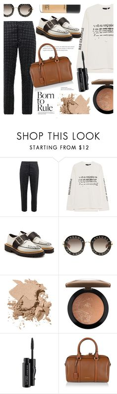 """""""New Me, New Style"""" by ames-ym ❤ liked on Polyvore featuring Moschino, Puma, Burberry, Gucci, Bobbi Brown Cosmetics, MAC Cosmetics, trousers, Burberrybag, contestentry and burberryshoes"""