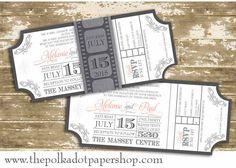 Movie Ticket Invitation / Wedding Invitation / Belly Band invitation/ shower invitation / oscars party / Glitter Wedding Invitation by PolkaDotInvites on Etsy https://www.etsy.com/listing/183244322/movie-ticket-invitation-wedding