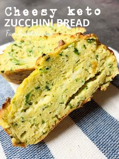 Delicious keto zucchini bread with cheese. Great keto breakfast idea too because it's perfect with keto spreads and jams or as a low carb bread with zucchini for dipping! Low Carb Zucchini Bread, Zucchini Bread Recipes, Healthy Zucchini, Low Carb Bread, Keto Bread, Zucchini Parmesan, Healthy Bread Recipes, Almond Recipes, Low Carb Recipes