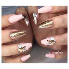 Nude coffin nails rose gold fall fashion nail art design by MargaritasNailz
