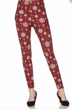 Plus Size Christmas Snowflake Print Leggings Pants 12-18 Buttery Soft TC