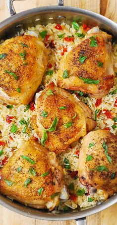 Chicken and Rice with Sun-Dried Tomatoes, fresh Basil, & Parmesan Cheese - easy, healthy, gluten free Mediterranean-style recipe.