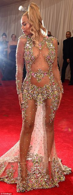 Beyonce wows in nothing but crystals in body hugging sheer gown #dailymail