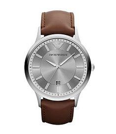 Emporio Armani Brown Leather Analog Watch