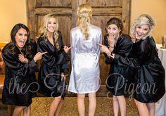 WEDDING ROBE - Black Robes - Set of 5 Robes - Silk Robe - Bridal Party Robes - Wedding Robes - Bridesmaid Gifts - Bride Robe - Satin Robe by thefancypigeon on Etsy https://www.etsy.com/listing/474199029/wedding-robe-black-robes-set-of-5-robes