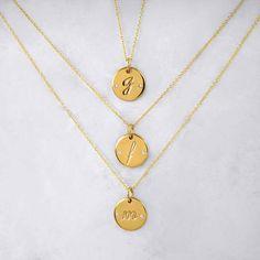 Personalized Initial Round Necklace, Yellow Gold 14 karat Diamond Monogram, Dainty Circle Tag, Delicate Monogram Engraved Pendant, Gift Idea