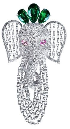 """Emeralds for Elephants"" brooch collection by  Nirav Modi."