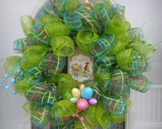 Deco Mesh Happy Easter Wreath, Easter Wreath, Deco Mesh Wreath