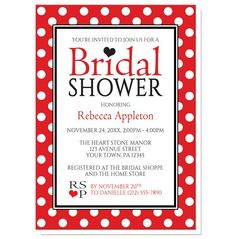Personalized Bridal Shower Invitations - Polka Dot Red Black and White | Order yours at https://www.facebook.com/BoardmanPrinting/