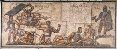 Estos mosaicos conmemoran grandes partidos de gladiadores ( los pequeños círculos con las líneas a través de mostrarles la persona representada fue asesinado en el partido ) .