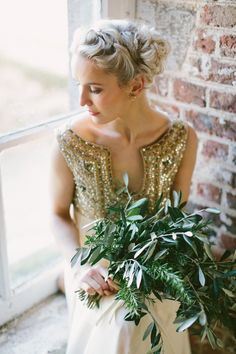 Major Wedding Trend Alert: All-Greenery Bridal Bouquets   Using mostly or allgreenery in your wedding decorationsis a seriously cool and trendy alternative to fresh flowers. Plus,brides on a budgetshould take note: greenery and foliage will always be much more affordable than fresh flowers. So if you're looking to save on your wedding decorations, going heavy on the greenery is a major cost-savings move.