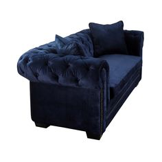- Info - Features - Dimensions The uniquely beautiful Norwalk navy velvet sofa adds comfort and plenty of style to any room. Entirely made by hand, this sofa features hand-applied nail heads, a kiln d Home Furniture, Modern Furniture, Furniture Design, Handmade Furniture, Home Fashion, Home Living Room, Living Room Designs, Norwalk Furniture, Blue Velvet Sofa