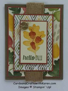 Paper Plunge #1 challenge, Stampin Up, For all Things and Color Me Autumn DSP, Hello Fall card