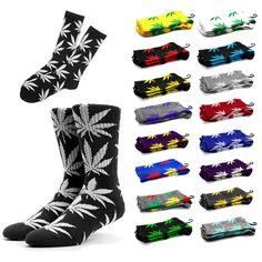 Unisex Plantlife Marijuana Cannabis Weed Leaf High Socks With Leaves  #420