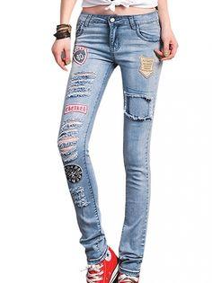Exquisite Hip Pop Style Pencil Pants High Waist Denim Jeans Blue on buytrends.com