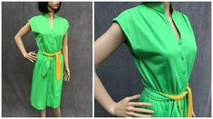 70's 80's Jimmy Los Angeles Belted Green Dress // Size