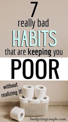 You've probably got at least one of these bad habits. Check yourself against these 7 bad habits that keep you poor. Best Money Saving Tips, Money Saving Challenge, Ways To Save Money, Money Tips, Saving Money, How To Make Money, Savings Challenge, Money Hacks, Money Savers