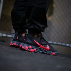 Mens Style Discover Locked and loaded! React Element 55 Red Solars are bangers credit . Sneakers Mode, Sneakers Fashion, Fashion Shoes, Shoes Sneakers, Men's Shoes, Nike Shoes Men, Adidas Sneakers, Nike Trainers, Mens Trainers