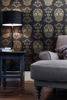 Day of the Dead Sugar Skull Wallpaper - would look great in my gothic Art Deco dream living room! Sugar Skull Wallpaper, The Design Files, Deco Design, Handmade Home Decor, Day Of The Dead, My New Room, My Dream Home, Sweet Home, House Design