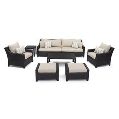 RST Brands Deco 8-Piece Patio Seating Set with Slate Grey Cushions - OP-PESS7-SLT-K - The Home Depot