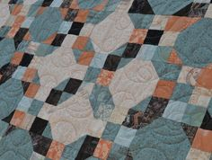 Patchwork Quilt in Peach Turquoise Sweet Serenade by MagpieQuilts in Calgary, Alberta