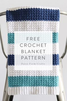 Sewing Baby Blanket Free Crochet Pattern - Nautical Baby Blanket - Hi there Daisy Farm friends! I'm very excited to share this blanket pattern with you because I made it for… Crochet Pillow Patterns Free, Crochet Shawl Free, Baby Blanket Crochet, Crochet Yarn, Irish Crochet, Free Pattern, Kids Crochet, Booties Crochet, Afghan Crochet