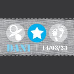 Geboortekaartje Dani www.hetuilennestje.nl. Stoer, modern, baby voetjes afdruk, speen, ster, stofje, gestickt, drukletters, grijs/ antraciet, fel blauw, wit.