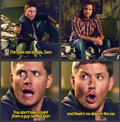 Ha. Some of the things they make Dean say make me wonder about what Dean had done for the years he was hunting alone.