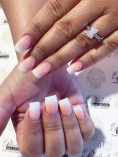 #manicuremonday #maniMonday pink and white ombré French in active length and square shape. Love the too! #getpolished #getpamperedatpolished #polishednailsalon #polishednailsok